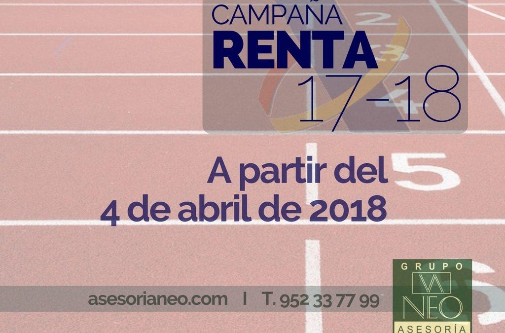 Comienzo campaña renta 2017-2018: 4 de Abril