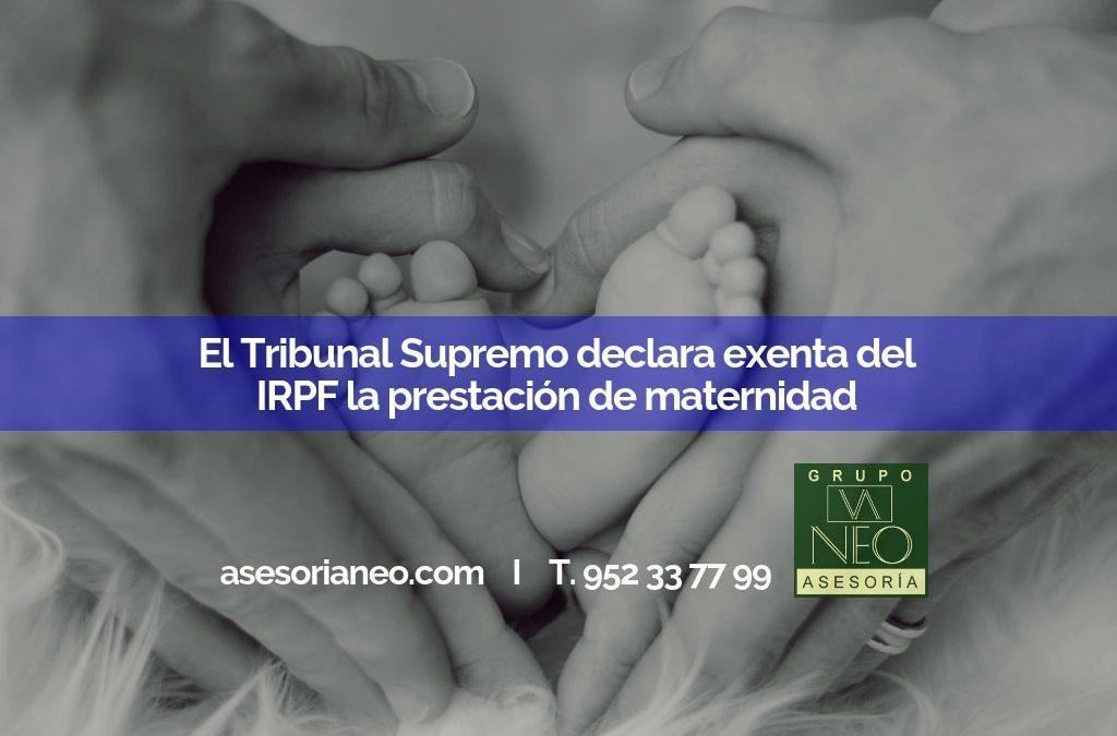 El Tribunal Supremo declara exenta del IRPF la prestación por maternidad