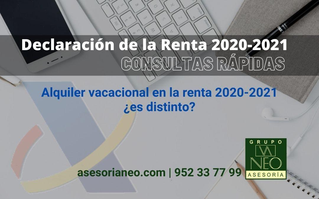 Alquiler vacacional en la renta 2020-2021 ¿es distinto?